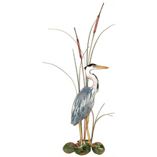 Bovano Small Great Blue Heron with Cattails Facing Right Wall Art | W363R