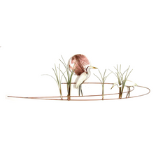 Bovano Egrets with Grasses Enameled Copper Wall Art | W372