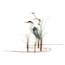 Bovano Single Heron Facing Left Enameled Copper Wall Art | W374