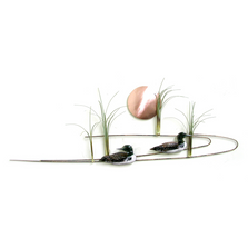 Bovano Two Loons with Copper Sun Enameled Copper Wall Art | W377