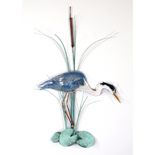 Bovano Heron Fishing with Patina Leaves Copper Wall Art | W383