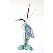 Bovano Heron Standing with Patina Leaves Copper Wall Art | W384