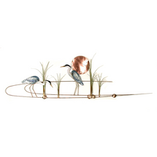 Bovano Large Heron Pair with Copper Sun Enameled Wall Art | W392