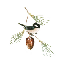 Bovano Chickadee with Pine Bough Enameled Copper Wall Art | W414