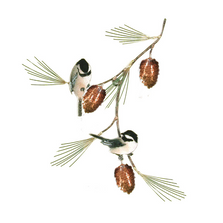 Bovano 2 Chickadees with Pine Bough Enameled Copper Wall Art | W415
