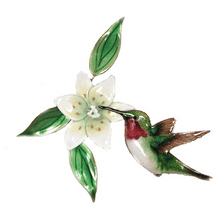 Bovano Hummingbird with Lily Enameled Copper Wall Art | W442