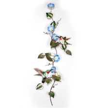 Bovano Two Hummingbirds on Morning Glory Vine - Large Wall Art | W1403