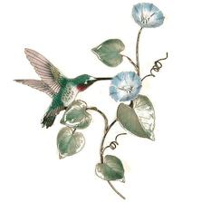 Bovano Hummingbird on Morning Glory Vine - Small Wall Art | W1402