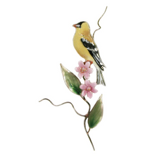 Bovano Goldfinch with Pink Aster Enameled Copper Wall Art | W464