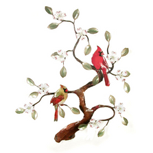 Bovano Two Cardinals in Dogwood Tree Enameled Copper Wall Art | W465