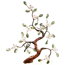Bovano Two Chickadees in Dogwood Tree Enameled Copper Wall Art | W466
