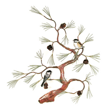 Bovano Chickadees on Copper Tree with 3D Pinecones Wall Art | W467