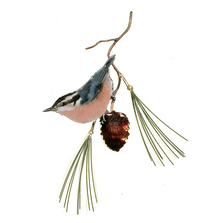 Bovano Red Breasted Nuthatch on Pine Enameled Copper Wall Art | W470