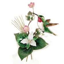 Bovano Hummingbird with Trillium Flower Enameled Copper Wall Art | W474