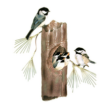 Bovano Chickadees Nesting in Pine Enameled Copper Wall Art   W521