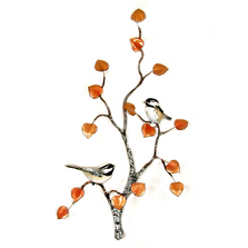 Bovano Chickadee Pair on Aspen Tree Enameled Copper Wall Art | W553