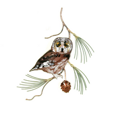Bovano Saw Whet Owl on Pine Enameled Copper Wall Art | W823