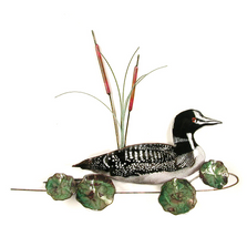 Bovano Loon with Lily Pads Enameled Copper Wall Art   W885