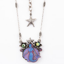 Mermaid Pendant with Flowers Necklace |Nature Jewelry | NK-9500-PRS