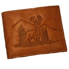 Deer Mountain Scene All Leather Bifold Tan Wallet