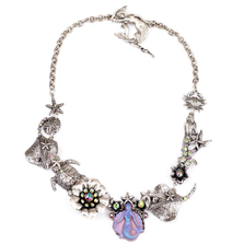 Mermaid and Sea Creatures Statement Necklace |Nature Jewelry | NK-9510-PRS