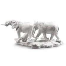 A Stop Along The Way, White Elephants Porcelain Sculpture | Lladro | 01009294