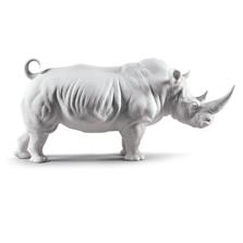 Matte White Rhino Porcelain Figurine | Lladro | 01009116