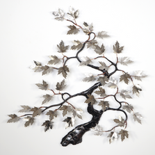 Bovano Stainless Steel Leaves on Copper Maple Tree Wall Art   W91SS