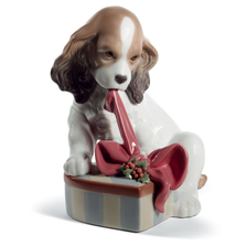 "Dog Porcelain Figurine ""Christmas Can't Wait"" 