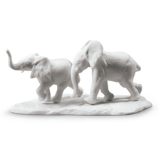 "White Elephants Porcelain Sculpture ""Following the Path"" 