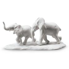 "White Elephants Porcelain Sculpture ""Following the Path"" | Lladro | 01009297"