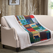 Bear Quilted Sherpa Throw Blanket | Lake and Lodge |  DQST551