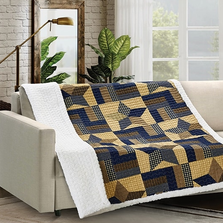 Star Quilted Sherpa Throw Blanket | Woodland Star Blue | DQST625