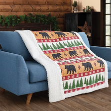 Bear Primitive Quilted Sherpa Throw Blanket | Winter Bear | DQST678