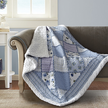 Floral Quilted Sherpa Throw Blanket | Garden of Blues | DQST653