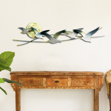 Five Seagulls with Sun Metal Wall Sculpture | TI Design | CO147