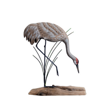 Sandhill Crane Dipping Painted Wood Sculpture | TI Design | CW629