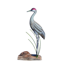 Sandhill Crane Standing Painted Wood Sculpture | TI Design | CW628