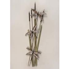 Dragonflies on Cattails Metal Wall Sculpture   TI Design   TICA274