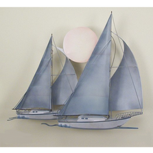 Sunset Sail Two Sail Boats Painted Metal Wall Sculpture | TI Design | TICA782