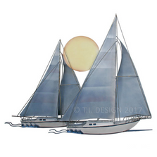 Sunset Sail Two Sail Boats Painted Metal Wall Sculpture | TI Design | CA782