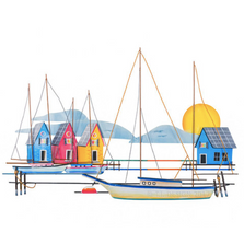 Island Harbor Dock Scene Metal Wall Sculpture | TI Design | CW501