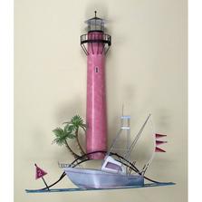 Jupiter Florida Lighthouse with Boat Metal Wall Sculpture | TI Design | CA754
