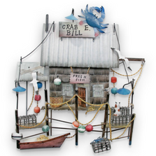 Crab E. Bill's Fresh Fish Shack Wall Sculpture | TI Design | CA711