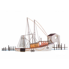 Calabash Shrimper Shrimp Boat Dock Scene Wall Sculpture | TI Design | CW500