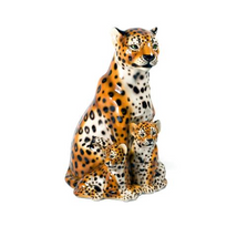 Leopard with Two Cubs Ceramic Sculpture | Intrada Italy | ANI2329