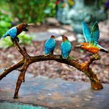 Hummingbirds on Branch Bronze Sculpture | Metropolitan Galleries | SRB097028