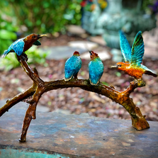 Hummingbirds on Branch Bronze Sculpture | Metropolitan Galleries | SRB097028