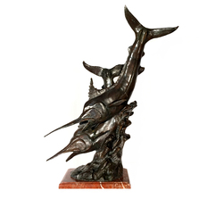 Sailfish School Bronze Sculpture on Red Marble Base | Metropolitan Galleries | SRB64006