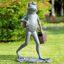 "Frog Garden Sculpture ""Suave Shopper"" 